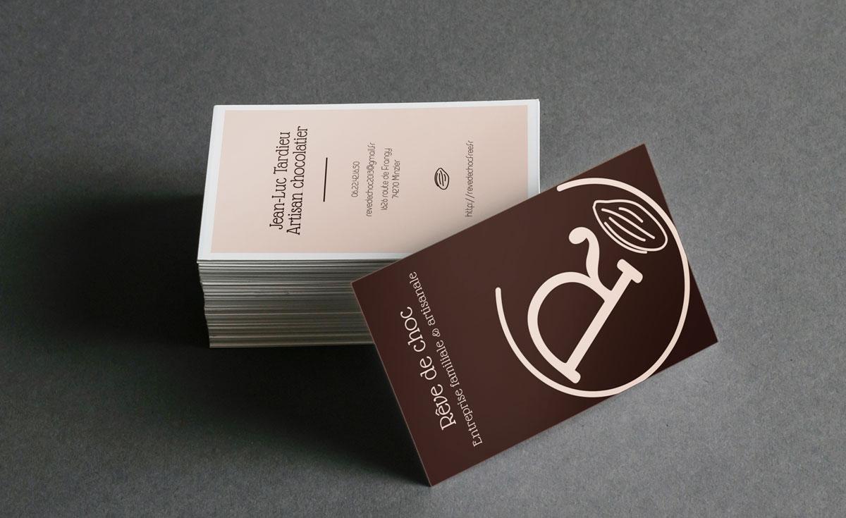 Création des cartes de visite de Rêve de choc, Chocolaterie artisanale de Haute-Savoie
