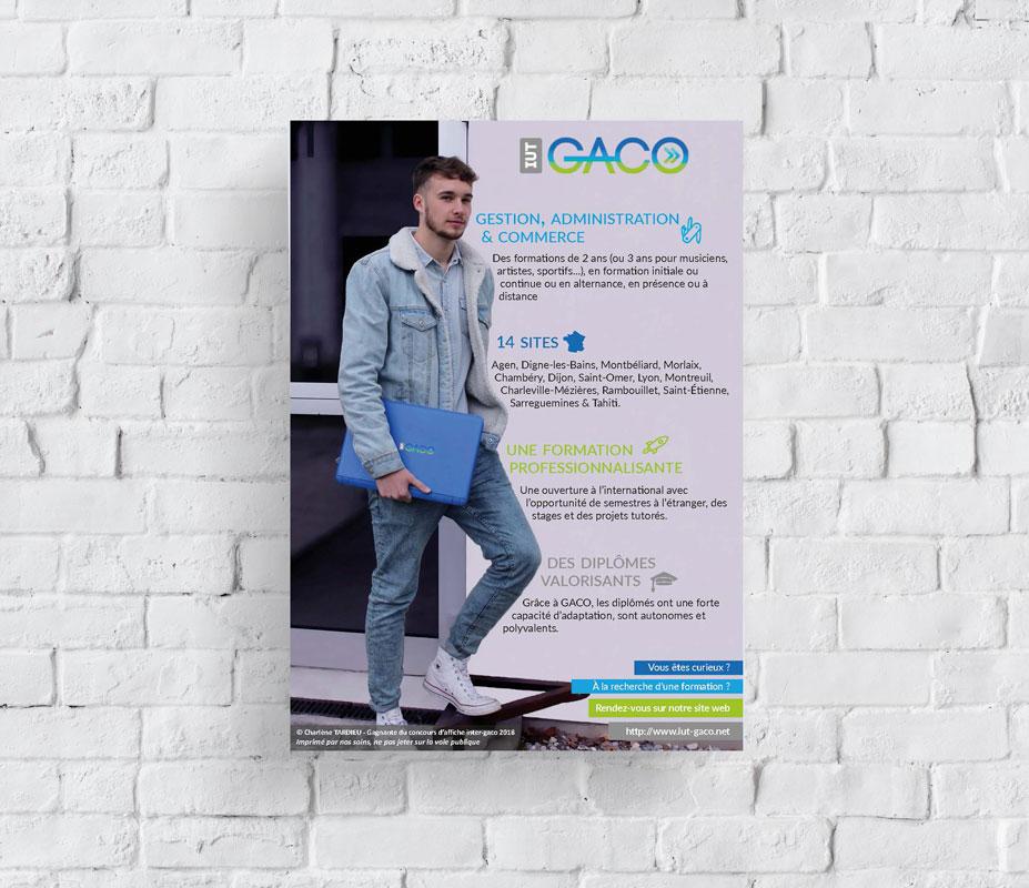 Affiche promotionnelle présentant la formation GACO France (Gestion Administrative et Commerciale des Organisations)