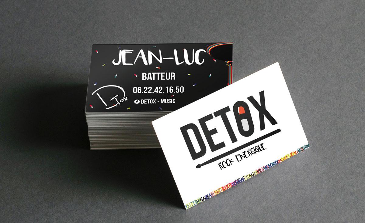 Création de cartes de visite pour le groupe de musique Detox, à Annecy