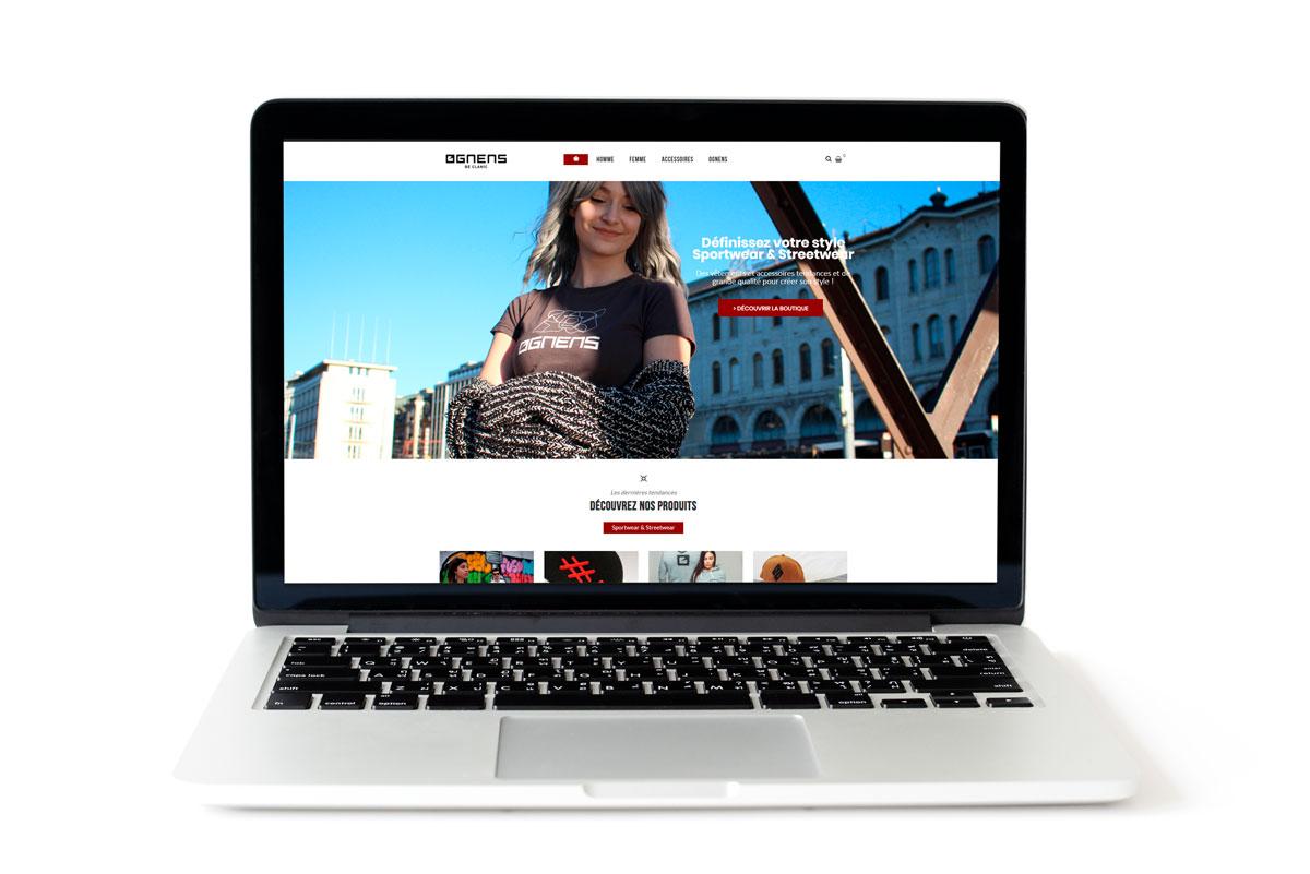 Création du site web d'Ognens, shop e-commerce de vêtements streetwear et sportwear
