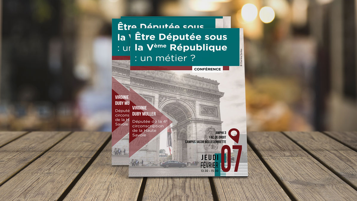 Flyer pour la Fac de droit de Jacob Bellecombette - Intervention de Virginie Duby Muller