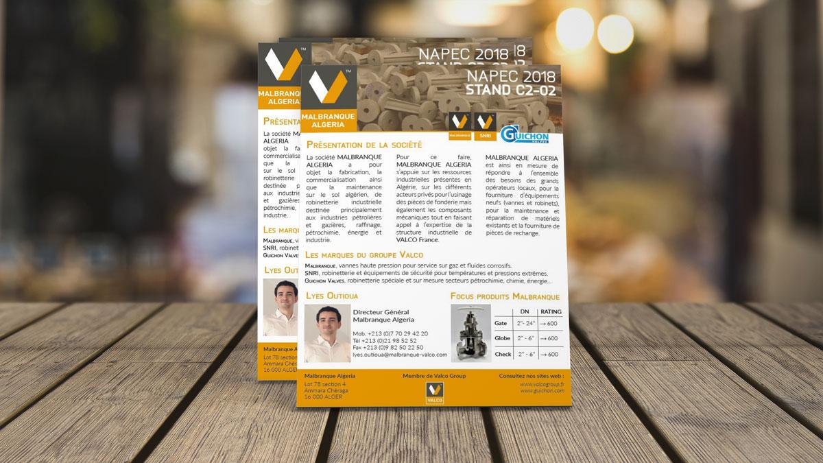 Flyer présentant Malbranque Algeria pour le salon Napec en Algérie