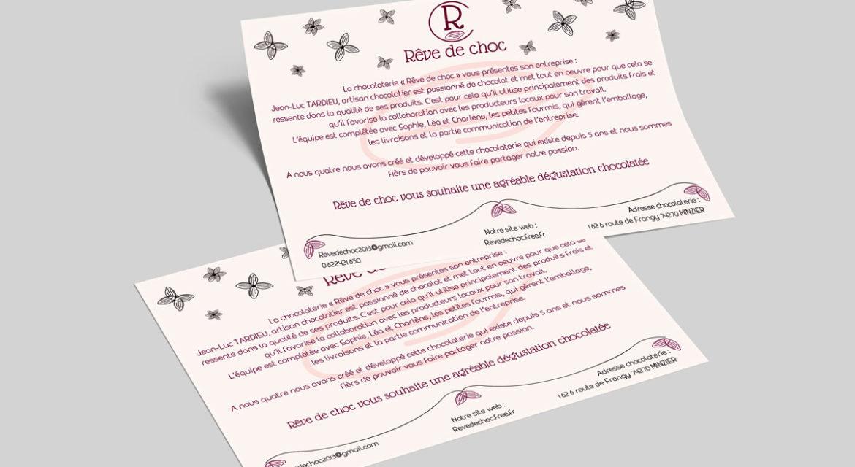 Flyer publicitaire pour présenter la chocolaterie Rêve de choc