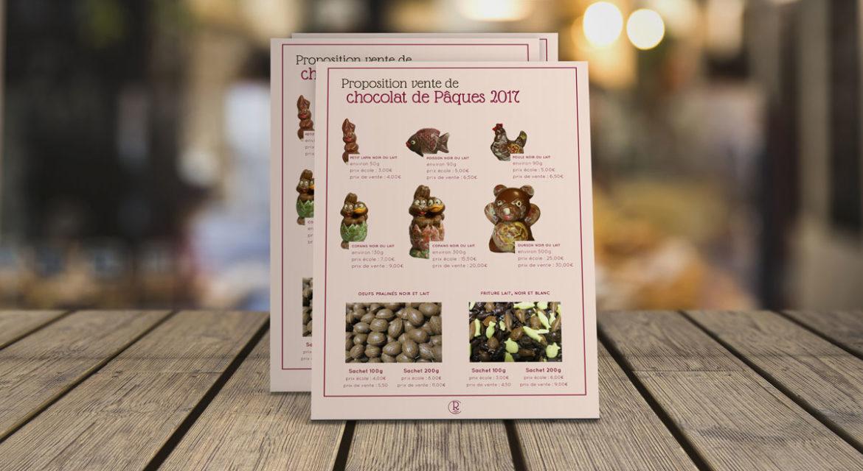 Flyer pour la promotion des chocolats de Pâques de Rêve de choc